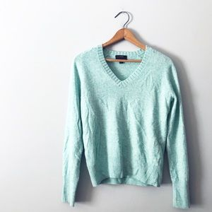 J.Crew Teal Sea foam Cashmere Blend V Neck Sweater